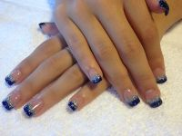 Acrylic Nails Rotal Blue & Sliver glitter tips | Nails ...