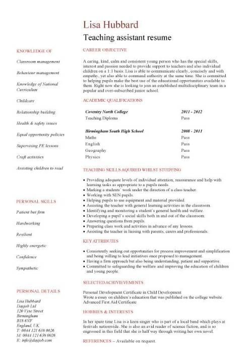 Teacher Assistant Resume Job Description - Teacher Assistant - teaching assistant resume