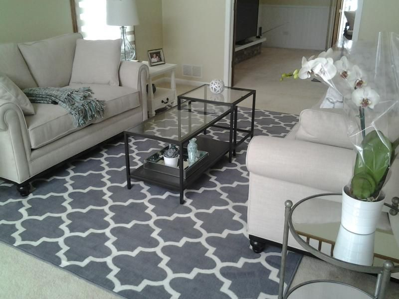 Gray target area rug, size 7x10 → Living Room Inspiration - rug sizes for living room