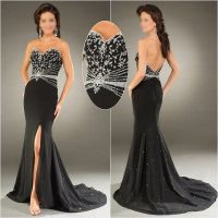 Black-White-Silver-Embroidery-Beaded-Long-Prom-Dress ...