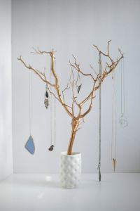 Jewelry Holder Tree Gold Organizer painted necklace hanger ...