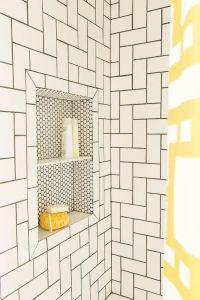 Simple white subway tiles take on a whole new look when ...