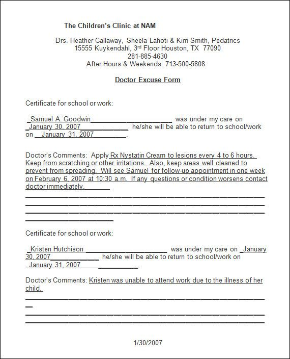 Sample Doctor Note - 30+ Free Documents in PDF, Word Fake - doctors note template