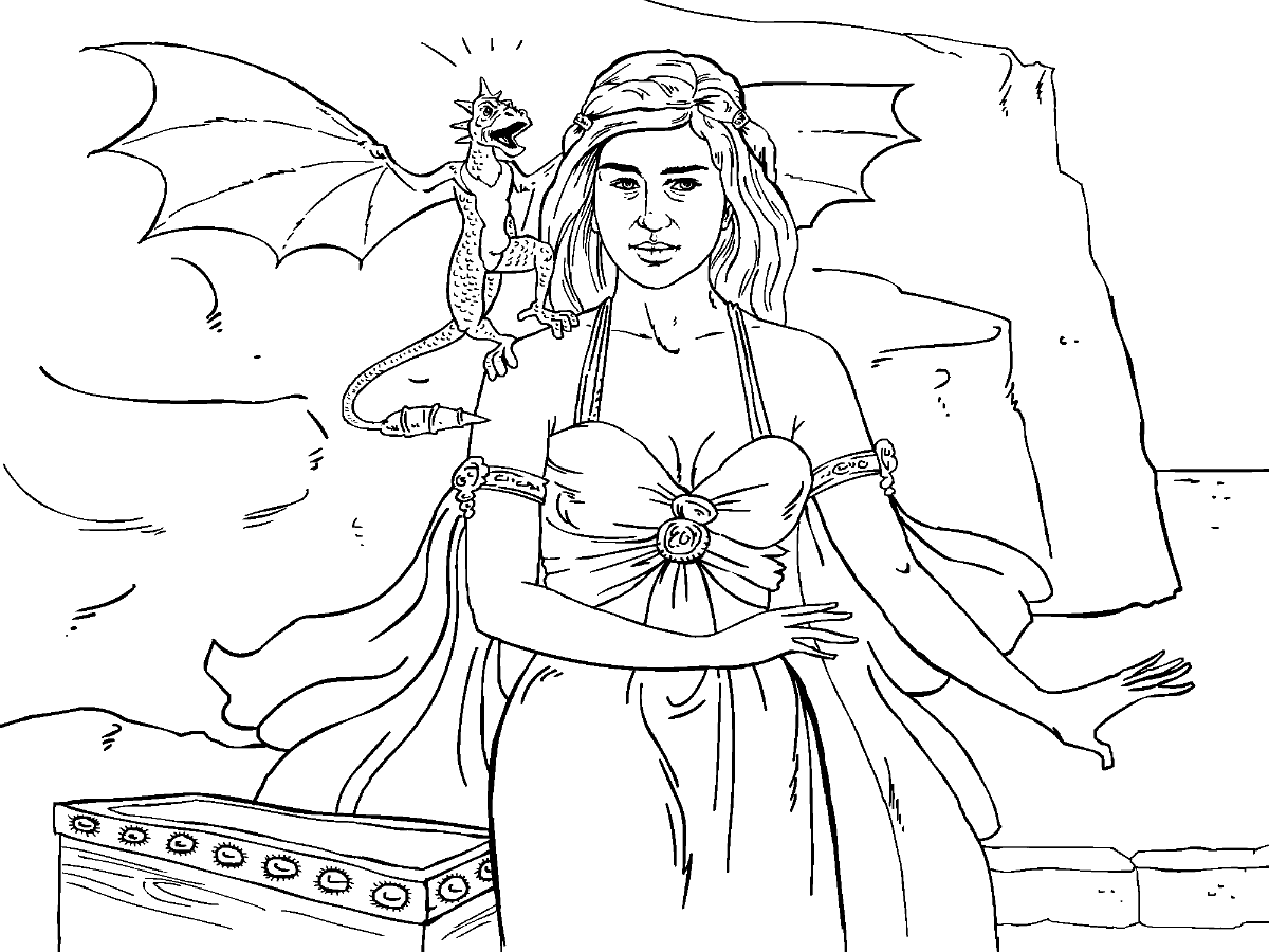 Colouring in pages games -  Game Of Thrones Colouring In Page Danaerys Download