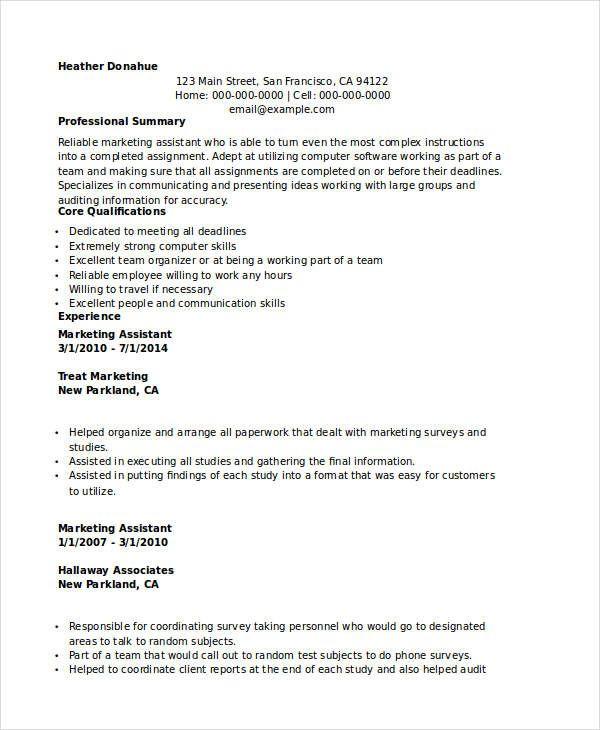 Marketing Executive Assistant Resume , Marketing Resume Samples - marketing assistant resume