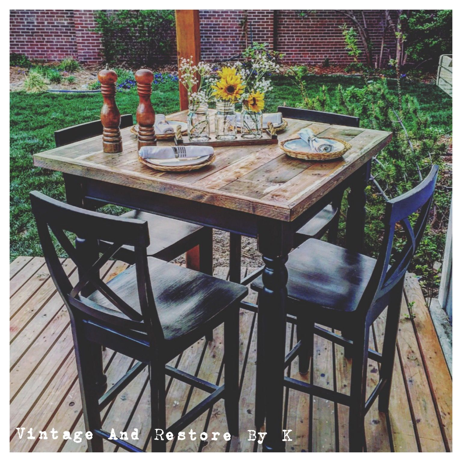 high top kitchen table This custom refinished rustic high top table was painted on