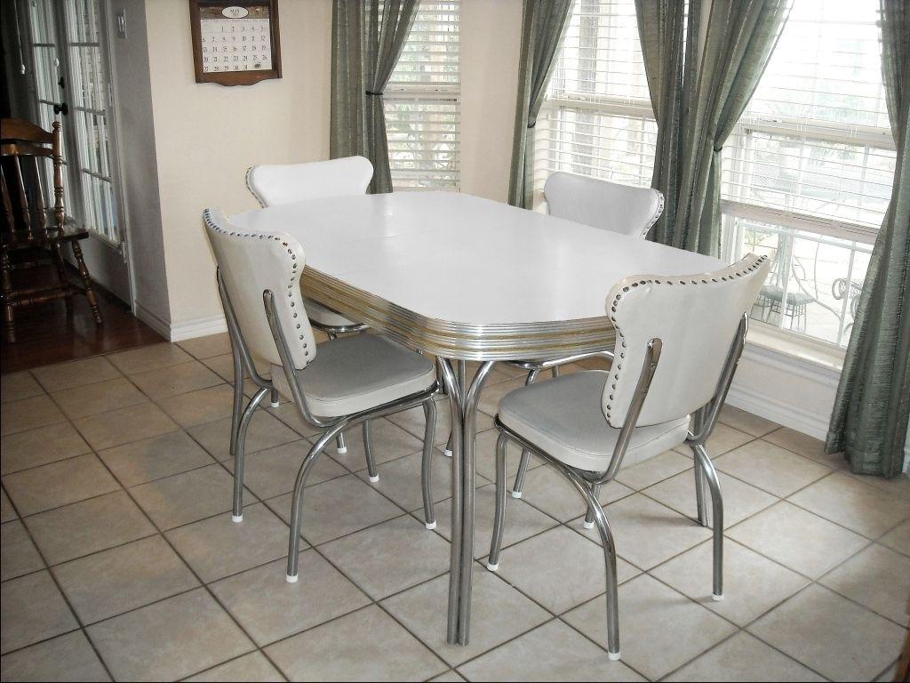 ... White Kitchen Chairs Vintage Metal Kitchen Tables And Chairs Restoring  S Kitchen Tables And Chairs One ...