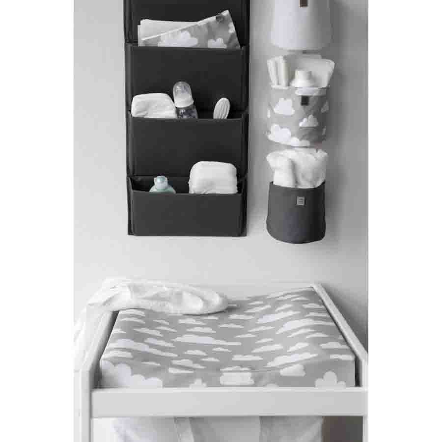 Baby changing mat clouds grey