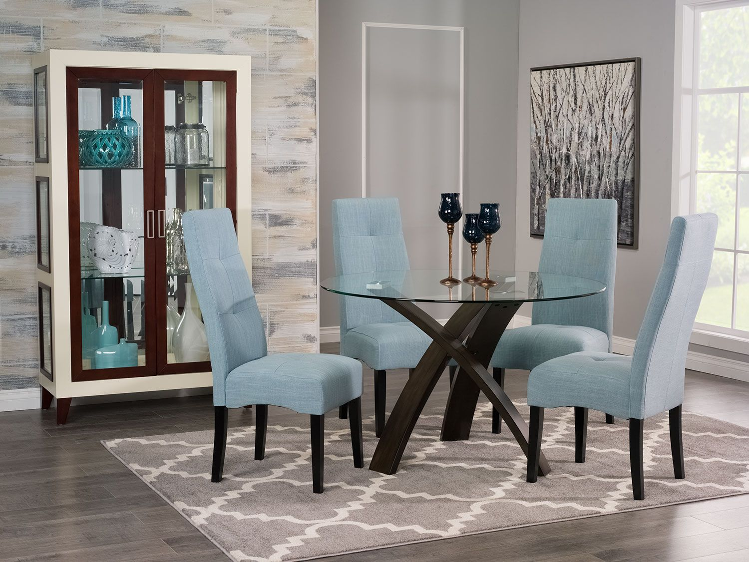 Dining room furniture skye 5 piece dining package with sadie dining chairs light