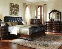Black Sleigh Bed Suite, Leather-Like Fabric | Churchill ...