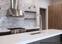 Dark kitchen cabinets, white quartz countertop with modern ...