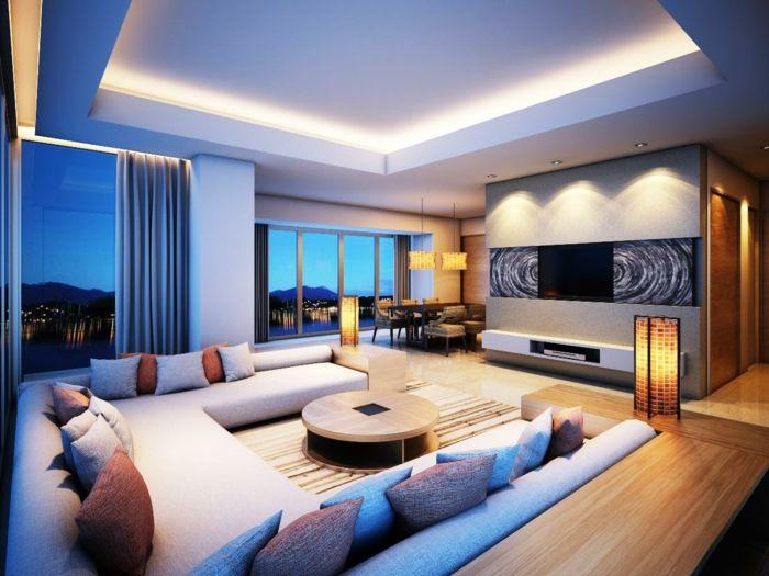 indirekte beleuchtung ideen wohnzimmer dekokissen runder - beleuchtung wohnzimmer ideen