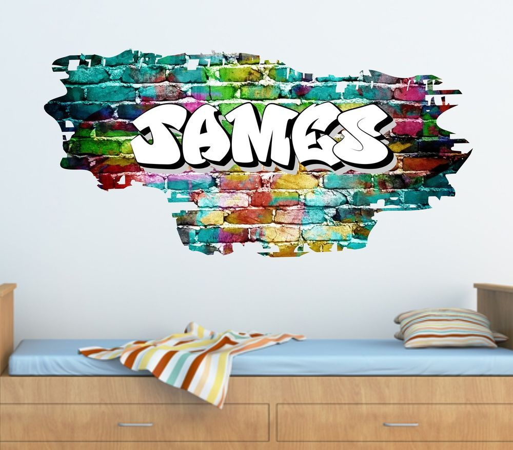 Personalised graffiti brick name wall sticker decal graphic tr45