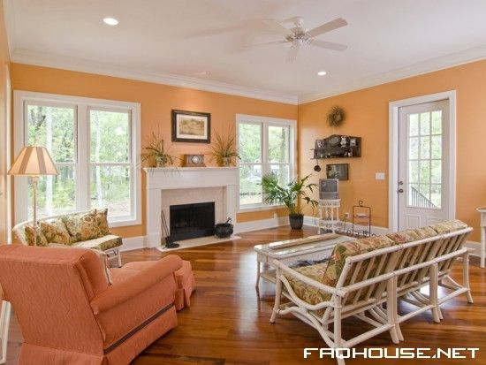 image of room with coral walls living room peach colour images - peach living room