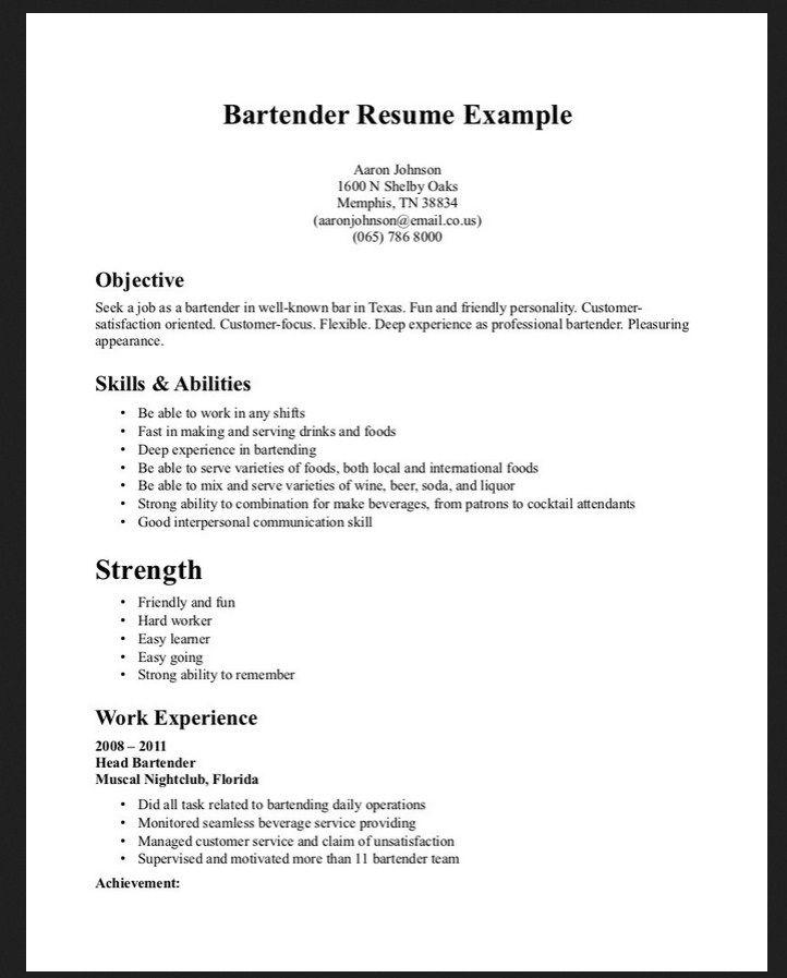 no bartender resume samples and tips updated sample waitress - free bartender resume templates