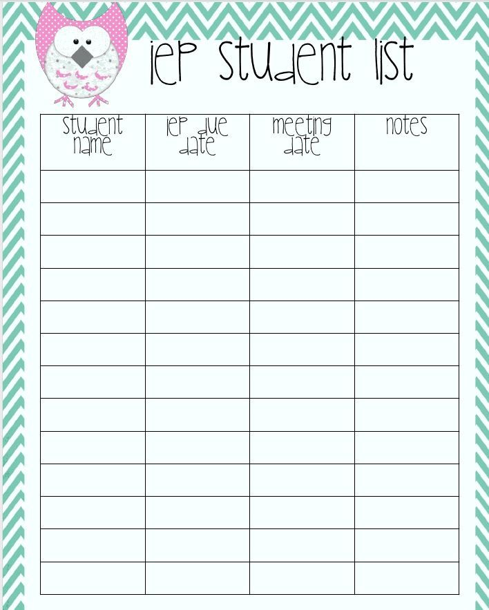 IEP Student Listsuper cute, probably not necessary But I do - classroom list template