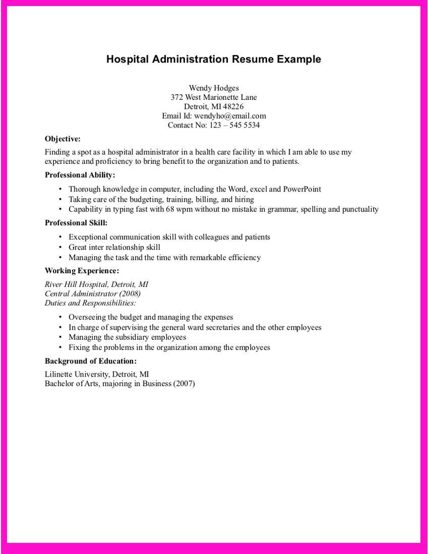 Hospital Resume Examples   Resume Format 2017