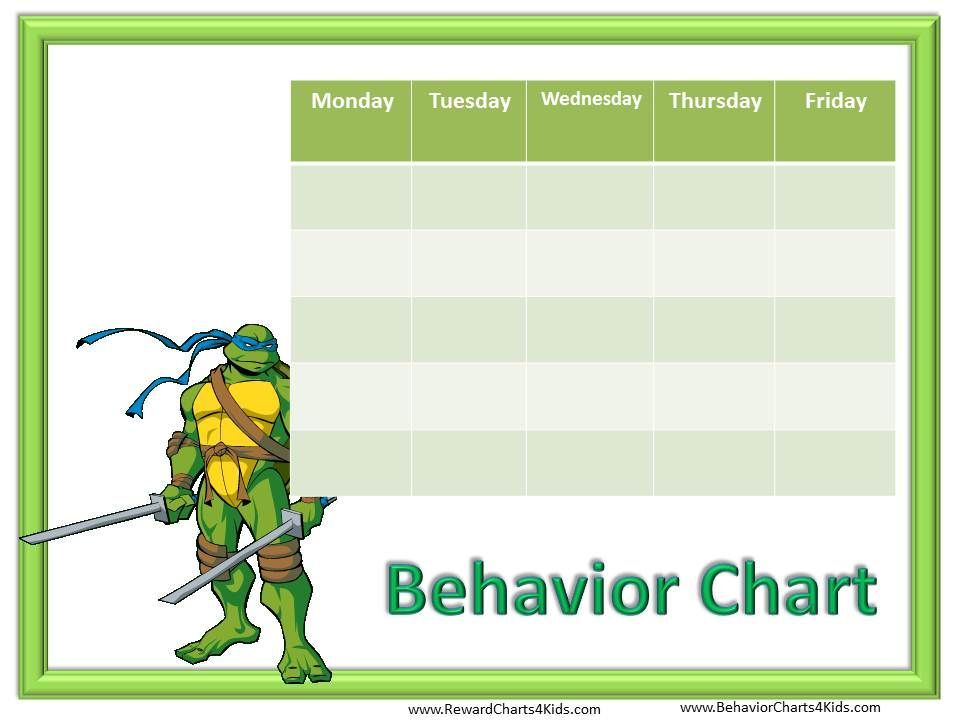 Behavior Free Behavior Charts (Ninja Turtles) Learning - printable behavior chart