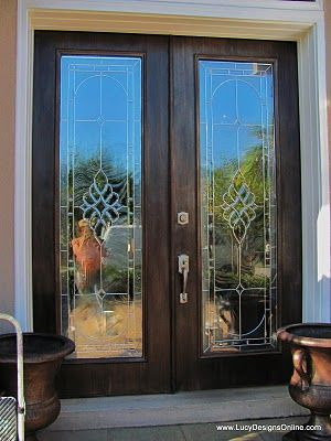 Bronze faux finish on front doors