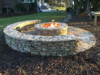 Classic Half-moon Stone Firepit with Gas Starter ...
