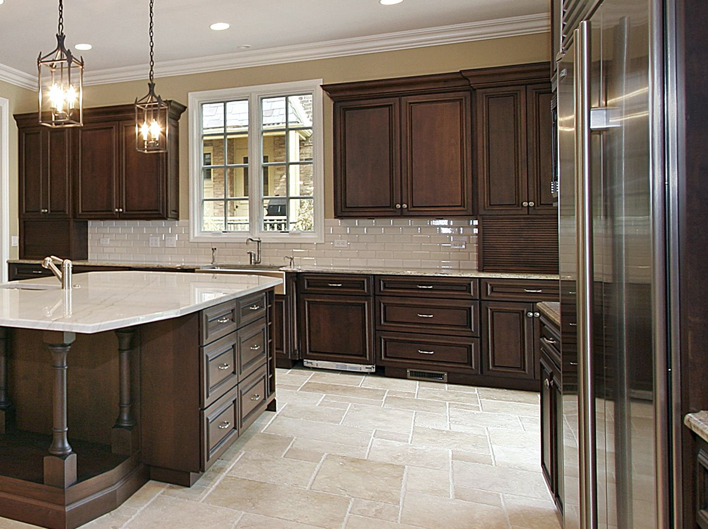 Pictures Of Dark Kitchen Cabinets With Light Countertops Classic Dark Cherry Kitchen With Large Island Www