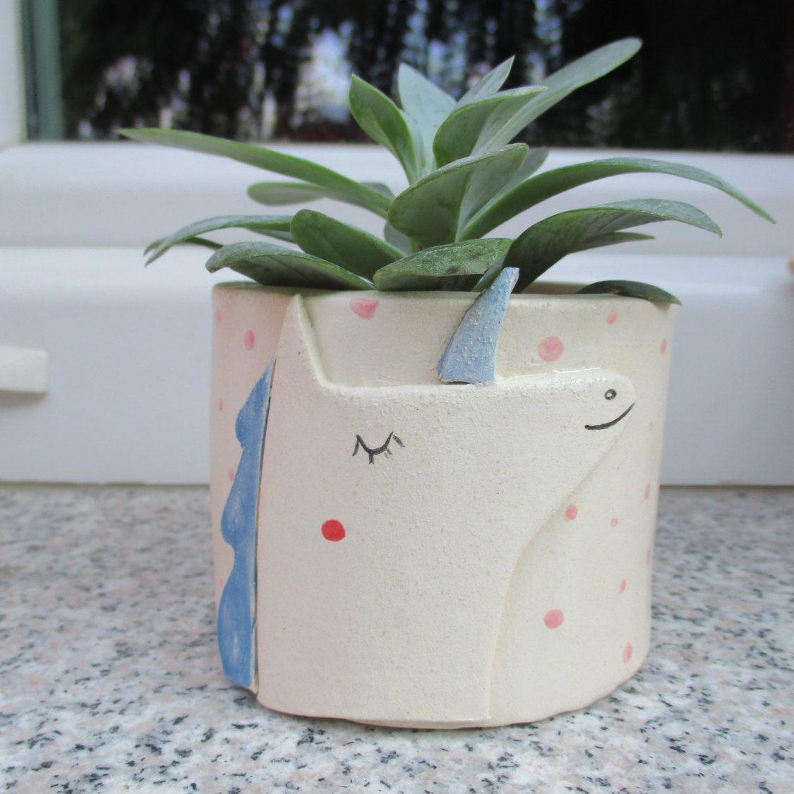 Cactus Planters Pottery Unicorn Planter Unicorn Flower Pot Blue White Rustic