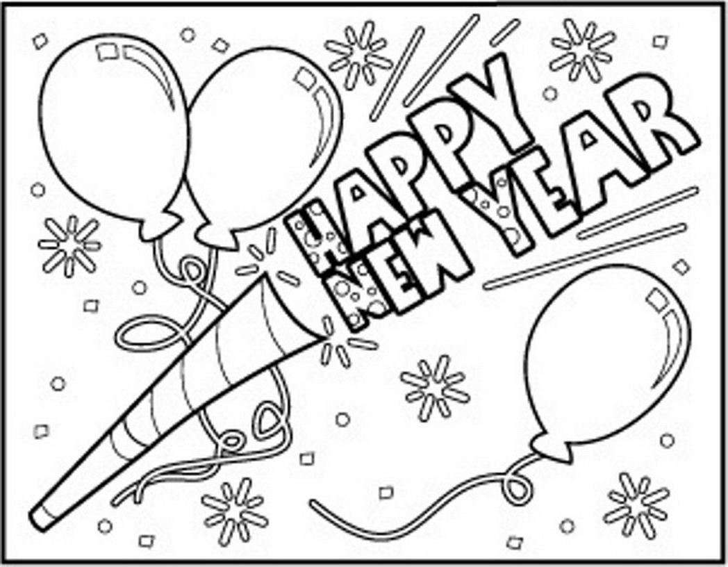 Happy new year coloring pages sheets 2016 free download