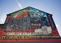 """Mural art in Belfast. """"Peace cannot be kept by force. It ..."""