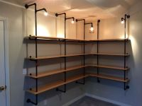Lighted Pipe-supported Shelves | Industrial design, Pipes ...