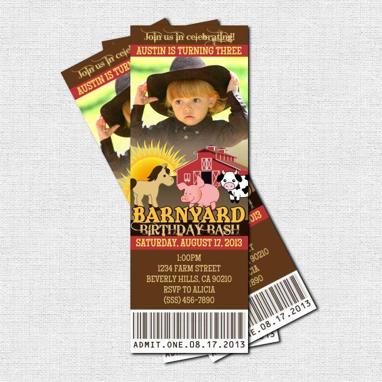 FARM ANIMAL TICKET Invitations Barnyard Birthday Party - (print - print your own tickets template free
