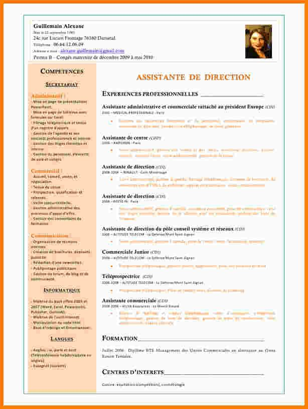 cv assistante de direction modele
