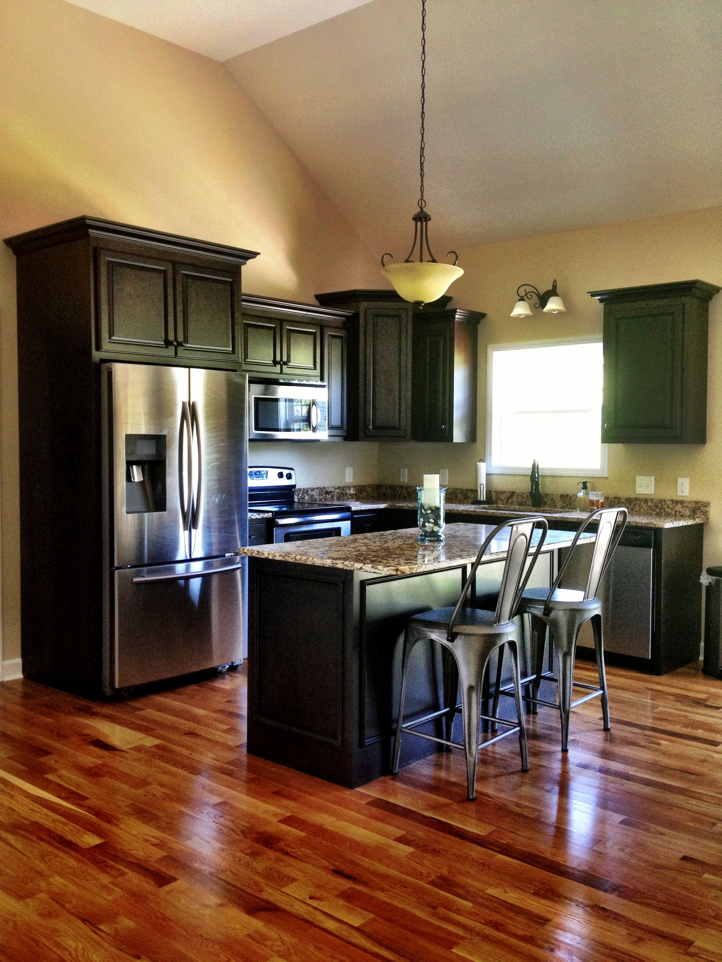 Kitchen Floor Ideas With Dark Cabinets Industrial Rustic Kitchen Granite Dark Kitchen