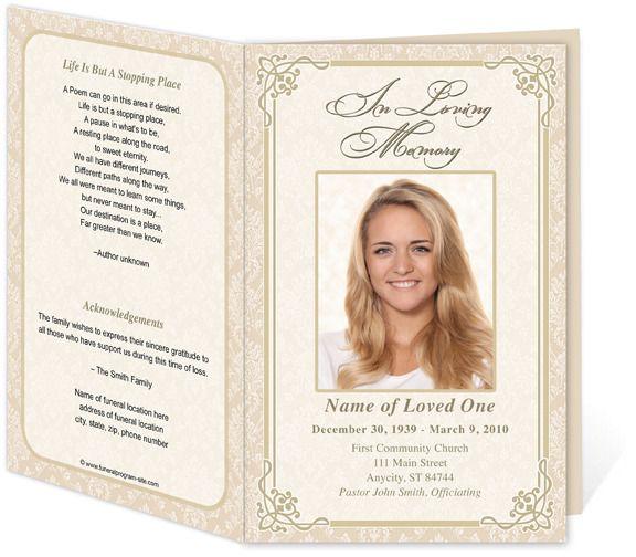 Download Edit Print - Ready Made Program funeral program - free download funeral program template