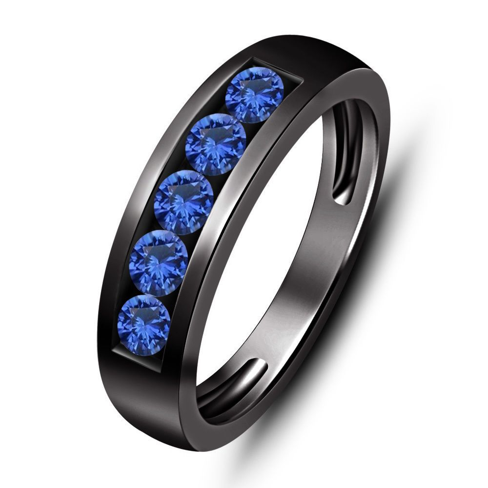 sapphire mens wedding band Blue Sapphire 5 Stone 1 00 ct tw Men s Wedding Band Ring in 14K Black Gold Sz 8