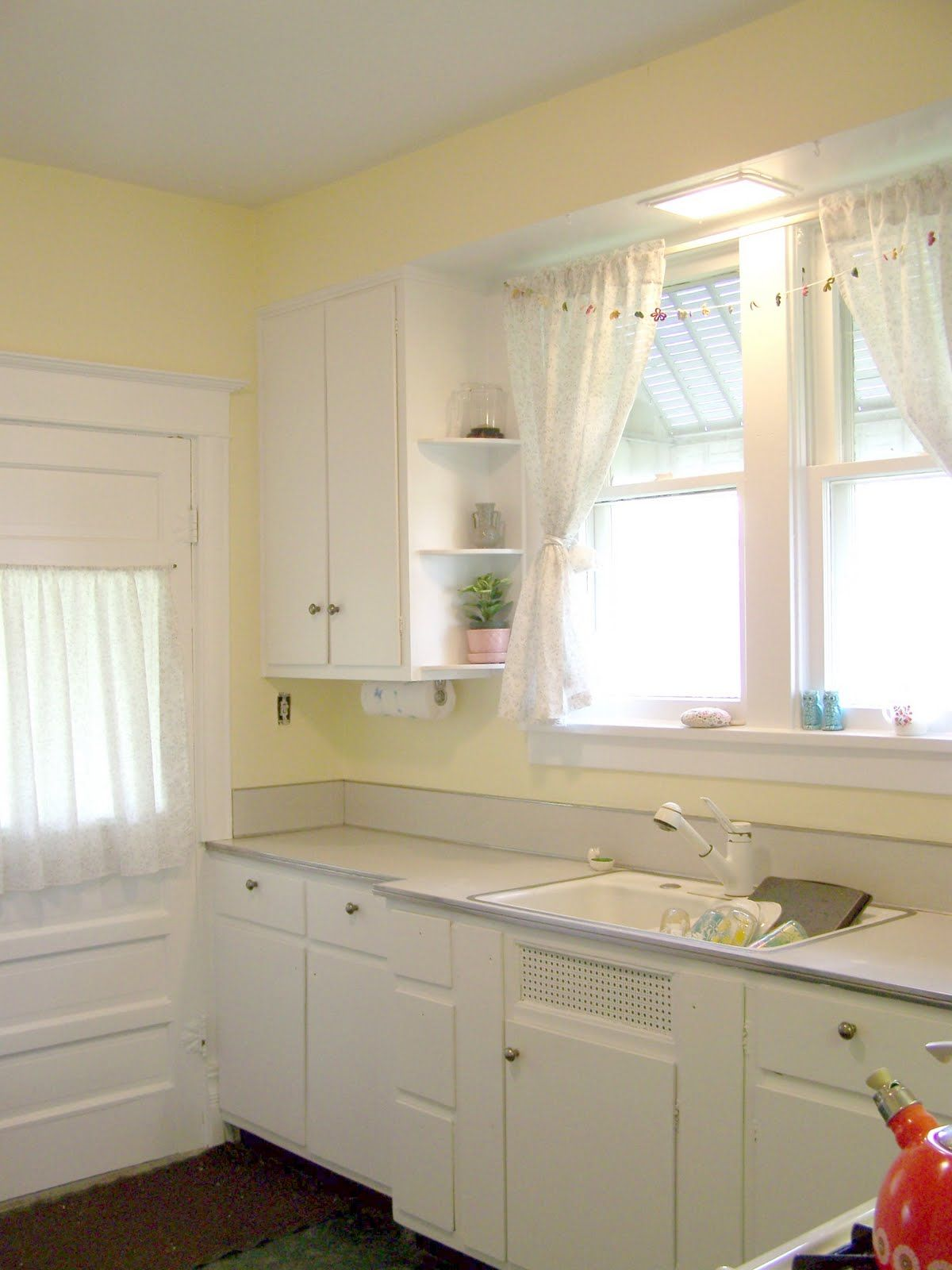 Kitchen Curtains For Yellow Walls White And Yellow Kitchen For Our House At The Lake