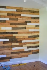 multi-colored wood accent wall | bedroom | Pinterest ...