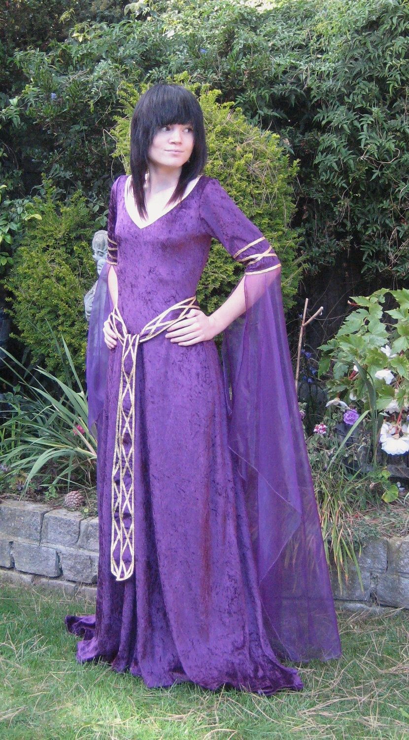 elvish wedding dress Eve a Celtic Elvish Medieval Pagan Wedding Gown with Applique Decoration