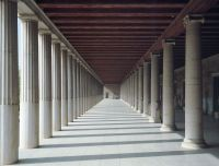 Interior view of the lower colonnade of the Stoa of ...