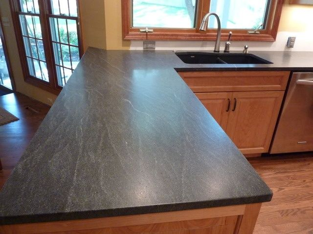 Negresco Honed Leathered Granite For Perimeter Kitchen Kitchen Virginia Mist Granite, Similar Look To Soapstone