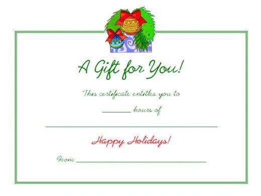 Free Printable Christmas Gift Cards Gift Template Blog Free - christmas gift certificates templates