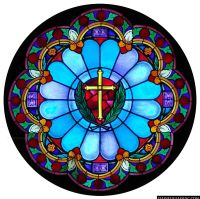 """Golden Cross"" Religious Stained Glass Window 