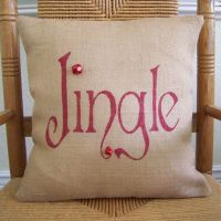 Jingle Pillow, Christmas pillow, burlap Pillow Cover