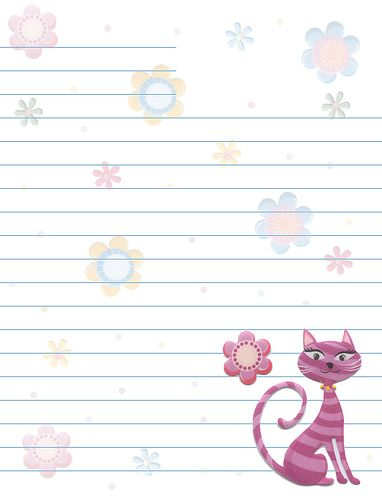 Cats Flowers Lined Stationery Stationary, Free printable and - free printable lined stationary