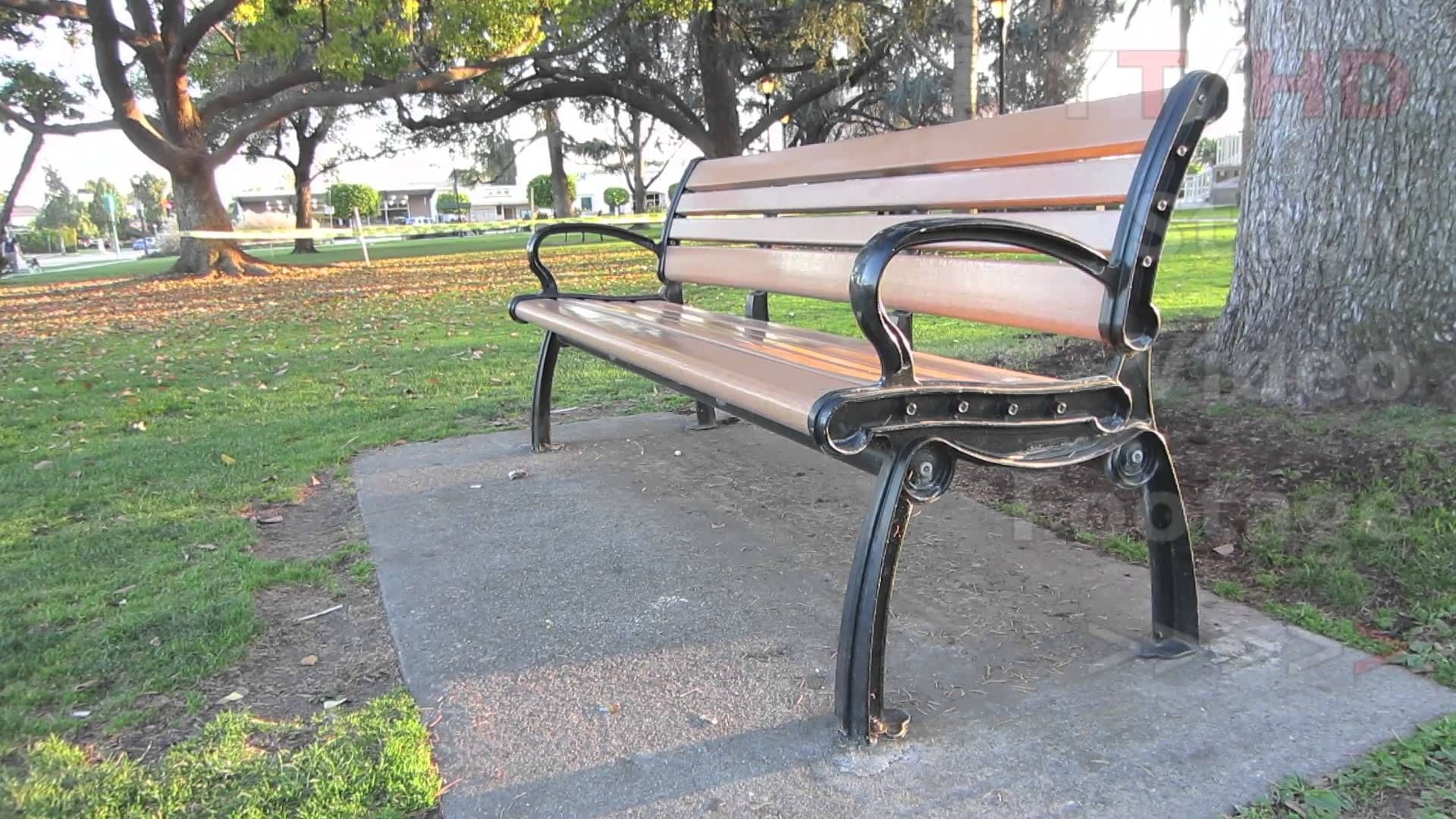 Wooden Park Benches Front Outdoor Public Wooden Park Bench W Metal Wrought Or Cast