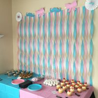 Mustache and bows dessert table, streamer wall. Gender ...