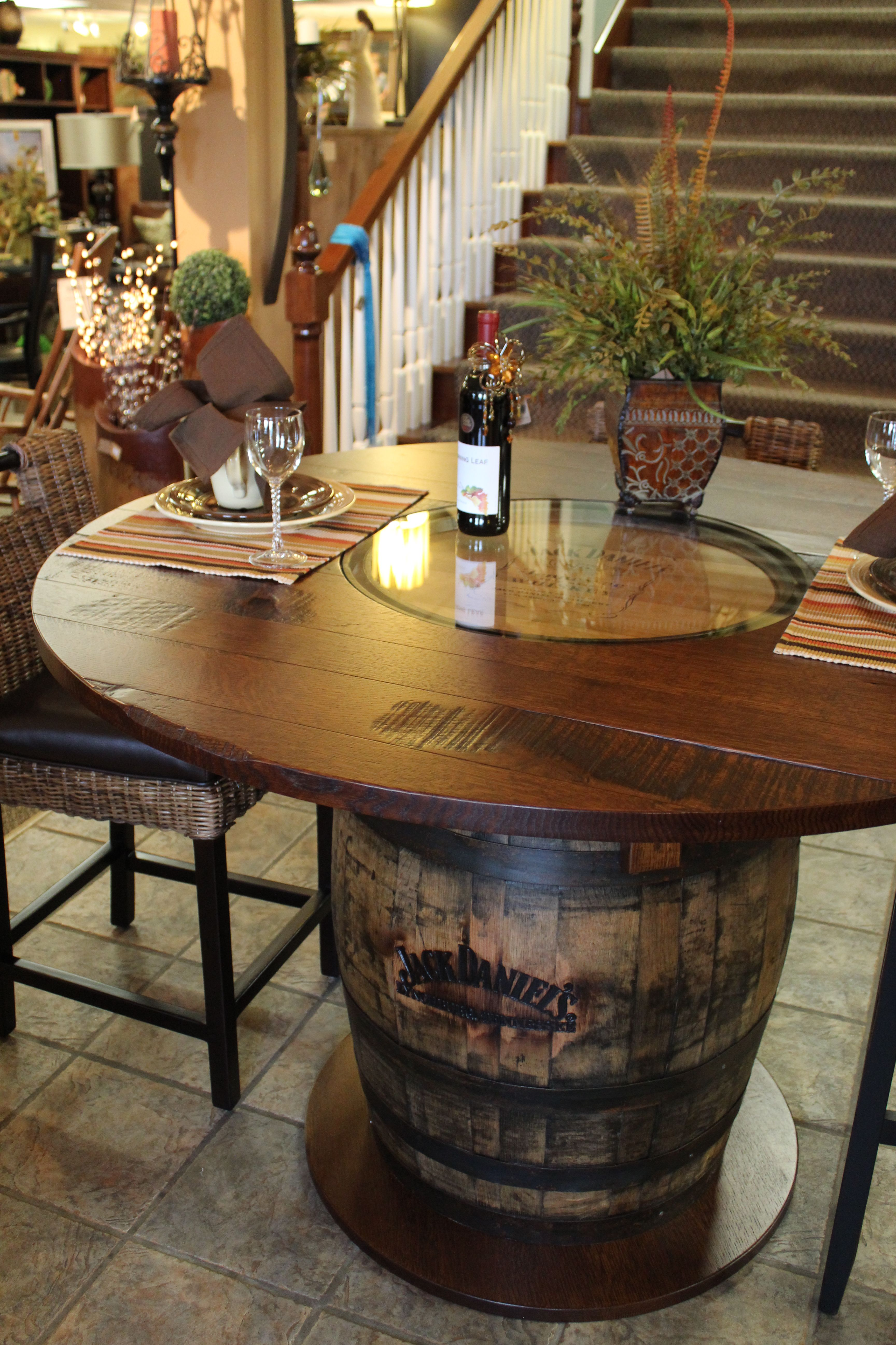 bar top kitchen tables This would be a really cool kitchen table Whisky Barrel Table