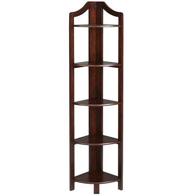 Clifton Tobacco Brown Tall Corner Shelf Tall corner shelf - living room corner shelf