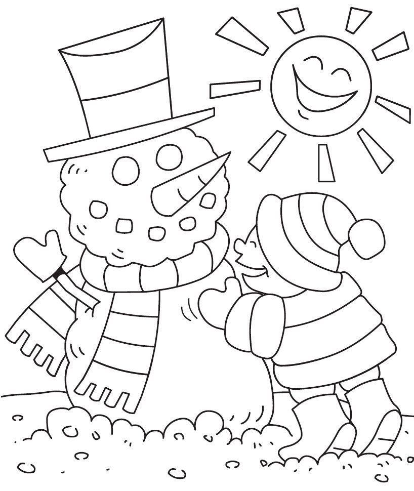 Super cute winter non christmas coloring pages