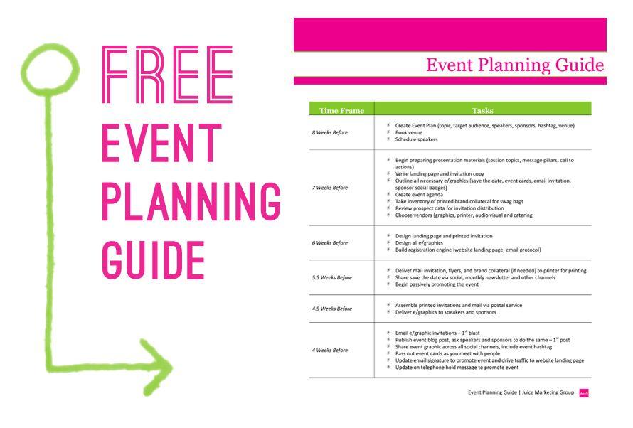 Free Event Planning Template via Juice Marketing Group Event - free event planner template