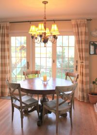 sliding glass door curtain ideas...love the country chairs ...